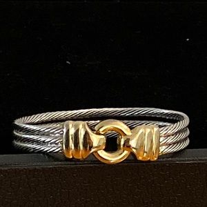 Silver/Gold Wired Two-Toned Circle Cuffed Bracelet
